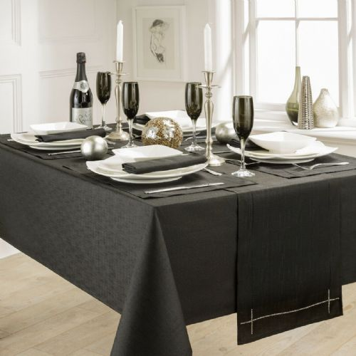 LINEN LOOK PLAIN SLUBBED XMAS CHRISTMAS TABLECLOTH OR RUNNERS DINNER PARTY LINEN BLACK